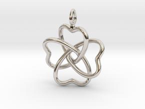 Heart Petals 4 Leaf Clover - 3.3cm - wLoopet in Platinum