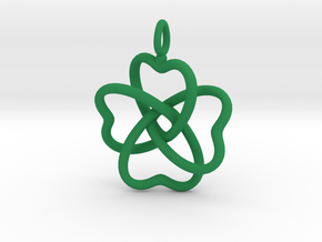 Heart Petals 4 Leaf Clover - 3.3cm - wLoopet in Green Strong & Flexible Polished