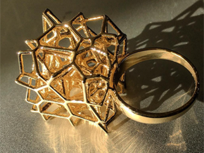 Voronoi Cube Ring (Size 8.5) in Polished Brass