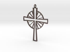 Sun Cross in Polished Bronzed Silver Steel