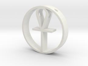 Egyptian cross pendant for men. in White Natural Versatile Plastic