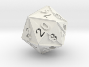 Optical Art D20 Dice in White Natural Versatile Plastic