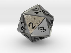Optical Art D20 Dice in Raw Silver