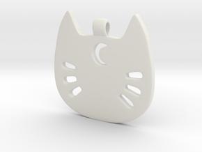 Sailor Kitty Pendant in White Natural Versatile Plastic