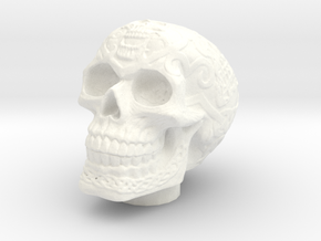 Skull Chuff Cap in White Strong & Flexible Polished