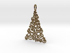 Christmas Tree Pendant 9 in Polished Bronze