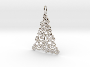 Christmas Tree Pendant 9 in Rhodium Plated Brass