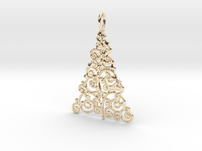 Christmas Tree Pendant 9 in 14k Gold Plated Brass