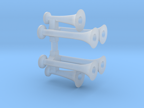Train Horns in Smooth Fine Detail Plastic
