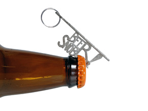 """BEER SNOB"" Bottle Opener Keychain - Customizable in Polished Nickel Steel"