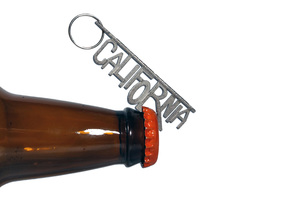 """CALIFORNIA"" Bottle Opener Keychain in Polished Nickel Steel"