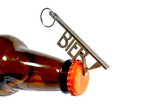 Bier! Keychain Bottle Opener in Polished Bronzed Silver Steel
