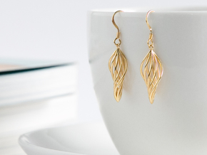 Leaf Earrings in 14k Gold Plated Brass