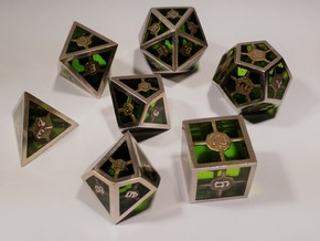 Epoxy Dice Set With Decader in Polished Bronzed Silver Steel