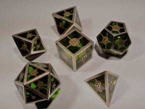Epoxy Dice Set  in Polished Bronzed Silver Steel