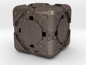 High-Detail Heavy Sci-Fi Dice D6 in Polished Bronzed Silver Steel: d6