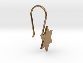Custom Star Earring With Hook in Natural Brass