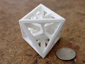 Octohedron in White Strong & Flexible Polished: Medium