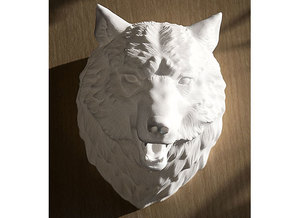 Angry Wolf Wall Mount in White Strong & Flexible