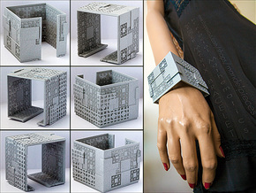 Menger Matrix Cuff Bracelet in Metallic Plastic