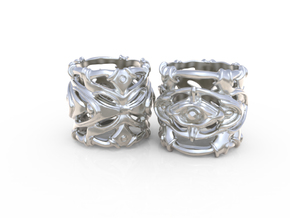 Ring Pulsar - Abstract modern thick detailed in Polished Silver: 8 / 56.75
