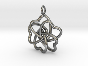 Heart Petals 5 Leaf Clover - 3.5cm - wLoopet in Fine Detail Polished Silver