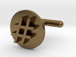 Hashtag Cufflink in Natural Bronze