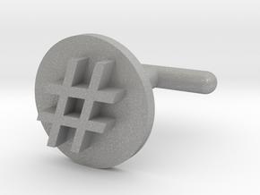 Hashtag Cufflink in Aluminum
