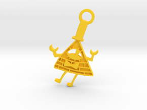 Bill Cipher Keychian in Yellow Strong & Flexible Polished