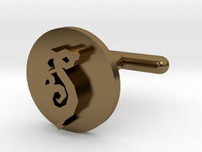 "Fancy ""S"" Cufflink   in Polished Bronze"