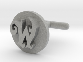"Fancy ""W"" Cufflink  in Metallic Plastic"