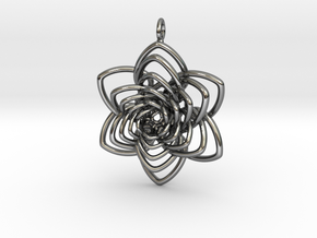 Heart Petals 6 Points Spiral - 5cm - wLoopet in Fine Detail Polished Silver