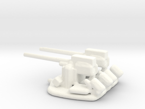 1/288 Scale 3 In 50 Cal Twin Automatic in White Strong & Flexible Polished