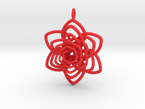 Heart Petals 6 Points Spiral - 5cm - wLoopet in Red Processed Versatile Plastic