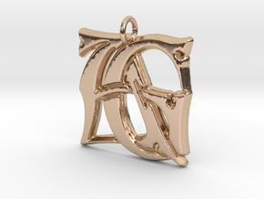 Monogram Initials AG Pendant  in 14k Rose Gold