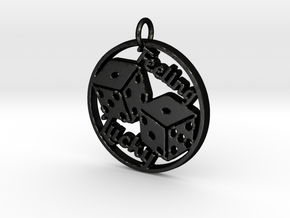 Feeling Lucky Dice Pendant in Matte Black Steel