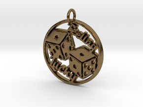 Feeling Lucky Dice Pendant in Natural Bronze