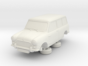 1-64 Austin Mini 60 Estate in White Natural Versatile Plastic