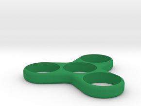 Mini Spinny - Small Hand Triple Spinner in Green Strong & Flexible Polished