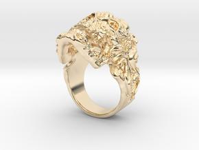 Filigree Skull Ring in 14K Yellow Gold