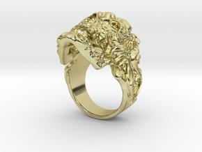 Filigree Skull Ring in 18k Gold Plated Brass