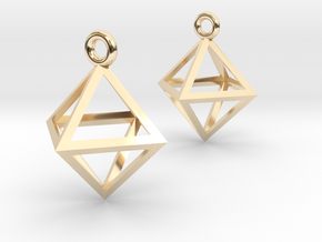 Octahedron Earrings in 14k Gold Plated Brass