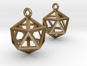 Icosahedron Earrings in Polished Gold Steel