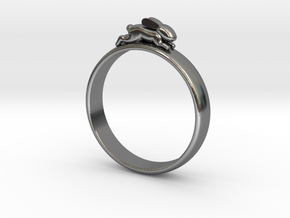 Bunny Rabbit Ring UK P, US 7.5, 17.8mm in Polished Silver
