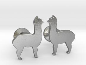 Llama Cufflinks in Natural Silver