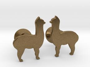 Llama Cufflinks in Natural Bronze