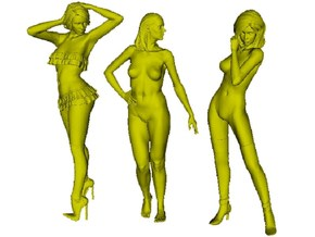 1/24 scale sexy girl figures x 3 pack B in Smooth Fine Detail Plastic