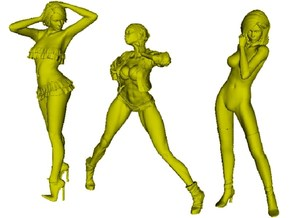 1/24 scale sexy girl figures x 3 pack A in Smooth Fine Detail Plastic
