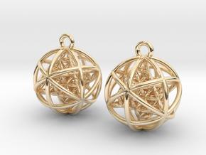 Flower of Life Planetary Merkaba Earrings in 14K Yellow Gold