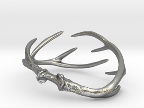 Antler Bracelet Medium/Small (75mm)  in Natural Silver